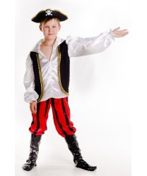 Костюм юного пирата: рубашка, штаны с накладными сапогами, шляпа (Украина)