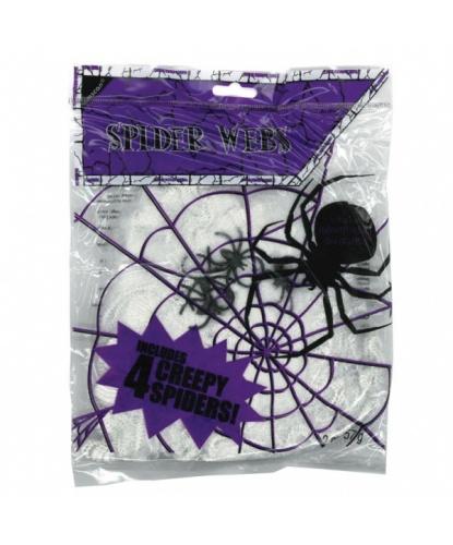Паутина с 4 пауками 57 гр, 8 м2, цвет белый (Германия)