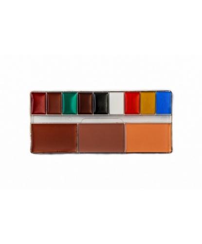 Набор грима, 1 шт: светло-красный, светло-коричневый, желтый, зеленый, красный, синий, коричневый, белый, черный (Россия)