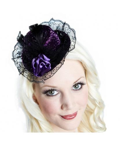 Мини-шляпка с пером и цветочком фиолетового цвета (Германия)
