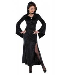 Длинное, черное платье с капюшоном