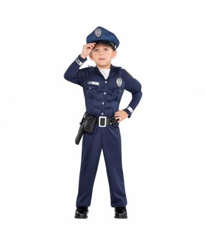 Детский костюм полицейского с мускулами : комбинезон, фуражка, пояс (Германия)