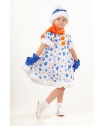 Костюм снеговика для девочки: платье, варежки, шарф, шапка (Россия)