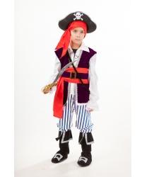 Костюм пиратский для мальчика: рубашка с жилетом и поясом, брюки с сапогами, бандана, шляпа, сабля (Россия)