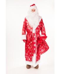 Костюм Дедушки Мороза: шуба, шапка, пояс, варежки, борода, мешок (Россия)