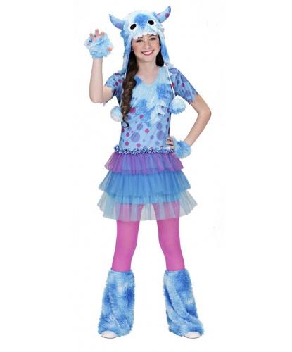 Детский костюм космического голубого монстра : платье, шапка, митенки, гетры (Италия)