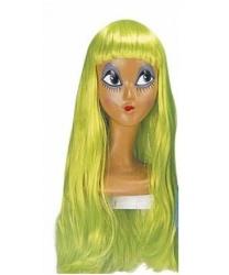 Парик салатовый с длинными волосами и челкой