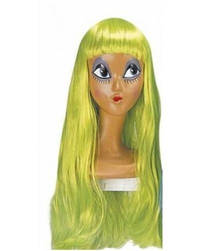 Парик салатовый с длинными волосами и челкой : зеленый (Италия)