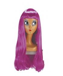 Парик фиолетовый с длинными волосами и челкой