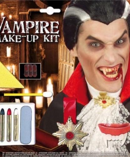 Набор грима, 3 карандаша, 6 капсул с кровью, медальон, кисточка, клыки вампира, спонж: черный, белый, красный, серый (Италия)