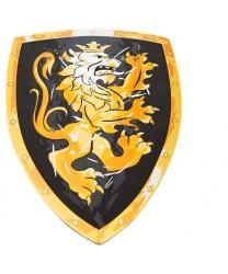 Черный щит с коронованным золотым львом и меч