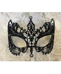 Карнавальная маска EIFEL с черными блесткамм, блестки, стразы, металл (Италия)
