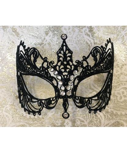 Карнавальная маска EIFEL с черными блесткамм, металл, стразы, блестки (Италия)