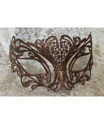 Карнавальная маска с бронзовыми блестками