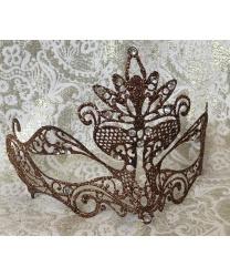 Карнавальная маска PAVONE с бронзовыми блестками