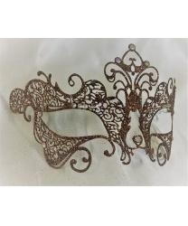Карнавальная ажурная маска с бронзовыми блестками