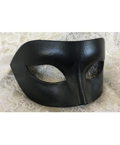 Мужская, карнавальная маска из кожи, черная, папье-маше, кожа (Италия)