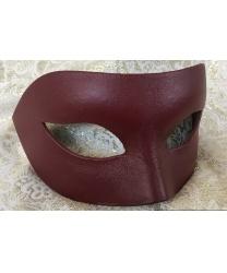 Мужская, карнавальная маска из кожи, бордовая