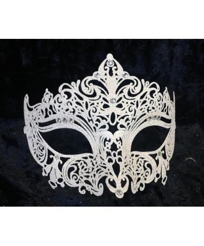 Венецианская белая маска GIGLIETTO с блестками, стразы, металл (Италия)