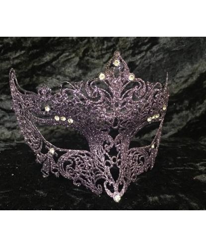 Венецианская сиреневая маска GIGLIETTO с блестками, металл, стразы (Италия)
