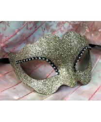 Блестящая венецианская маска (золотая) - Маски, арт: 8783