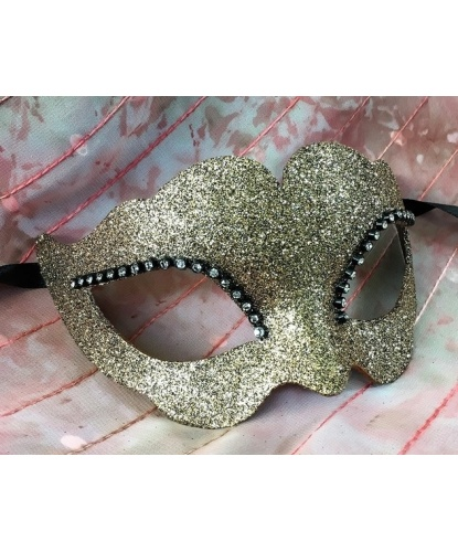 Блестящая венецианская маска (золотая), папье-маше, стразы (Италия)