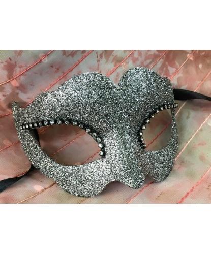 Блестящая венецианская маска (серебряная), стразы, папье-маше (Италия)