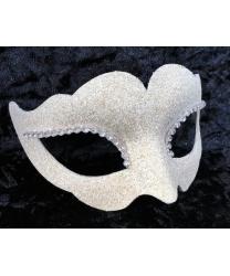Блестящая венецианская маска (белая), папье-маше, стразы (Италия)