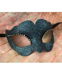 Блестящая венецианская маска (темно-бирюзовая), папье-маше, стразы (Италия)