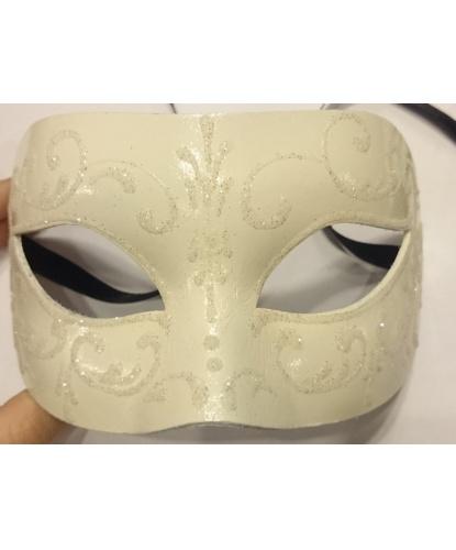 Белая маска с блестящим узором, блестки, папье-маше (Италия)