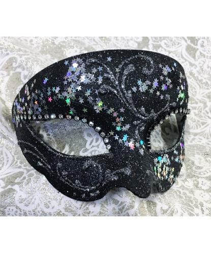 Карнавальная маска BIANCA Звездное небо, папье-маше, стразы, блестки (Италия)