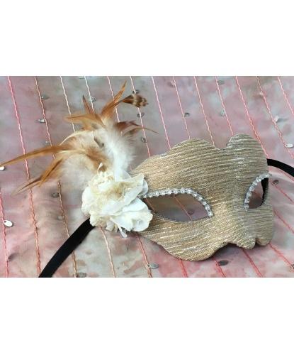 Венецианская маска бежевых оттенков, перья, папье-маше, стразы (Италия)