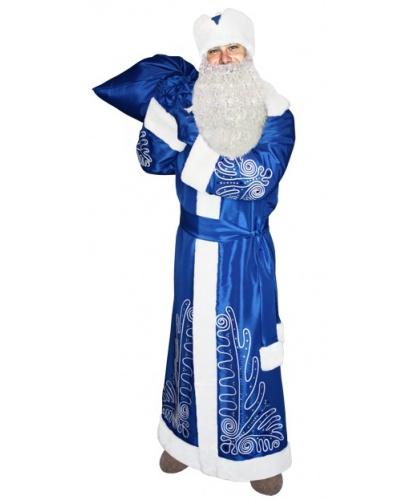 Костюм Деда Мороза новогодний: шуба, кушак, шапка, рукавицы, мешок (Россия)