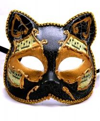 """Венецианская маска """"Кот"""" с нотами, черная"""