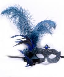 Серо-голубая венецианская маска с перьями