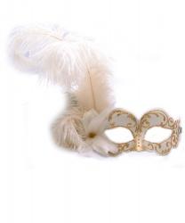 Белая венецианская маска с золотым узором