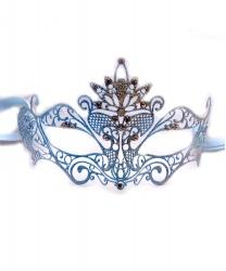 Карнавальная маска PAVONE с бело-голубыми блестками