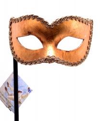 Мужская золотая венецианская маска на палочке
