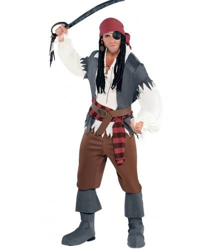 Пиратский костюм для мужчины: рубашка, жилетка, штаны, бандана, пояс, имитация сапог (Германия)