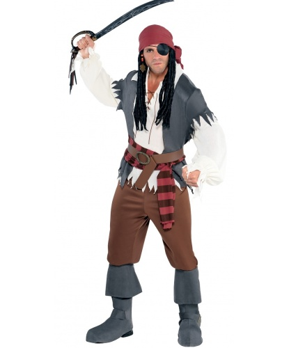 Пиратский костюм: рубашка, жилет, штаны, бандана, пояс,сапоги (Германия)