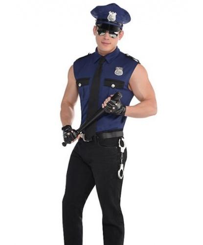 Синий костюм полицейского : рубашка без рукавов, фуражка, галстук, перчатки, значок (Германия)