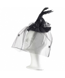 Черный мини-колпак с вуалью