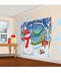 Новогодний баннер на стену+снежинки