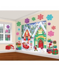 Баннер на стену+снежинки и подарки