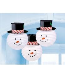 Бумажные фонари  Снеговики  - Декорации на новый год, арт: 8909