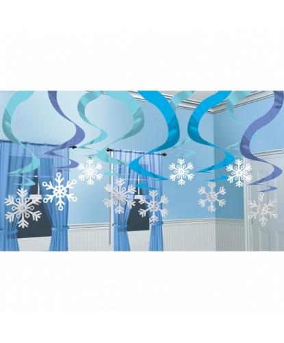 Декорация на Новый год Подвесные снежинки                                           15 шт.  60см.