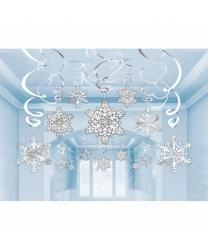 Подвесные снежинки (30 шт) - Декорации на новый год, арт: 8912