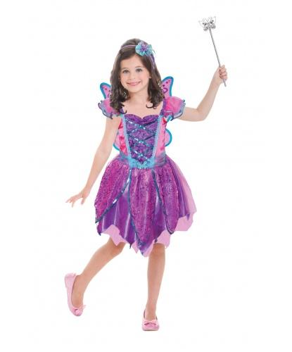 Костюм фиолетово-розовой феи с крыльями: платье, крылья, ободок (Германия)