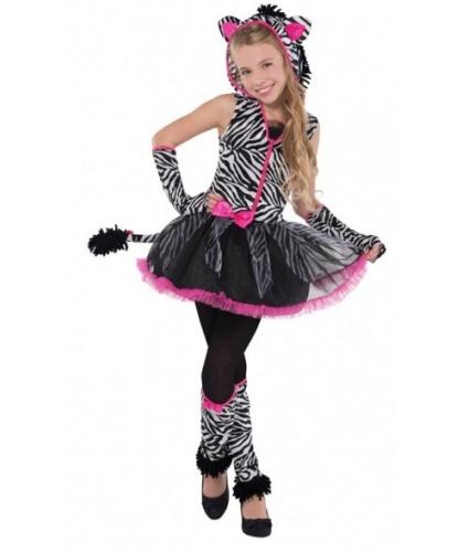 Подростковый костюм зебры: платье, митенки, гетры (Германия)