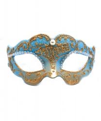 Голубая венецианская маска с золотым узором